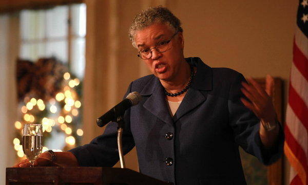 Cook County Board President Toni Preckwinkle blasted the city's handling of the violence problem while answering questions at a Union League Club of Chicago luncheon.