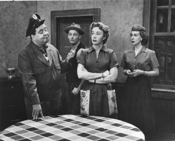 "Jackie Gleason, Art Carney, Audrey Meadows and Joyce Randolph in the CBS comedy ""The Honeymooners."""