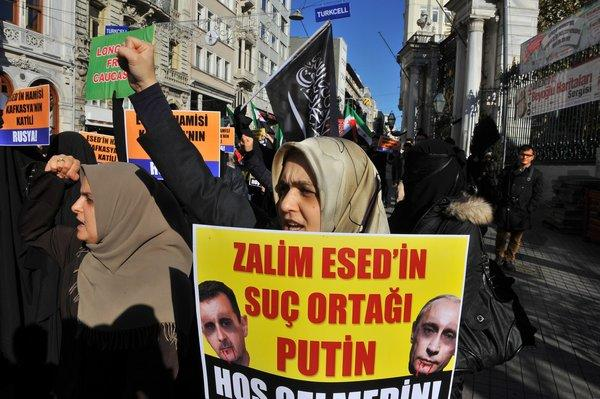 Turks protest in Istanbul, accusing Russian President Vladimir Putin of protecting Syrian President Bashar Assad during the 21-month-old rebellion. Turkey has been flooded with refugees from the civil war in neighboring Syria, and stray rocket fire into border areas prompted NATO to approve deployment of Patriot missiles to defend Turkey.