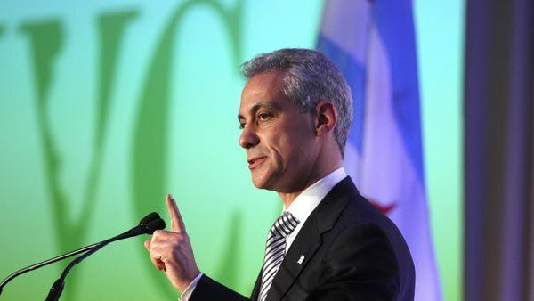 Mayor Rahm Emanuel making brief remarks at the Illinois Venture Capital Association's 11th Annual Awards Dinner at the Four Seasons Hotel Recently. He will be lighting a menorah at the Daley Center during Hanukkah.