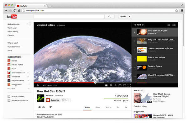 A screenshot of YouTube's new design.