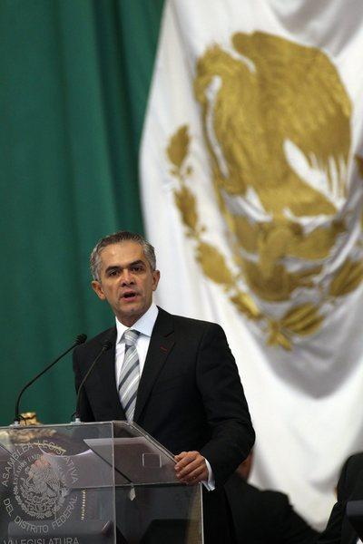 Miguel Angel Mancera speaks during his swearing-in ceremony as Mexico City's new mayor.