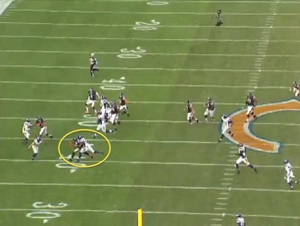 Despite a tight throwing window, Cutler threads this pass to his wide receiver for a positive gain.