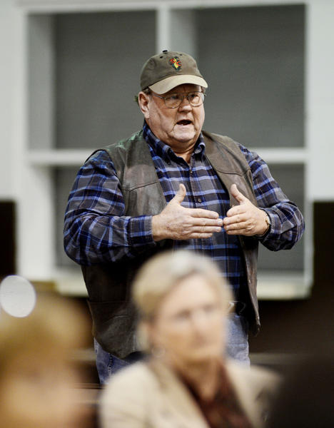 Jerry Ditto ask questions about the new zoning laws concerning agriculture in Washington County at an agriculture business forum held Thursday at the Washington County Agricultural Education Center south of Hagerstown.