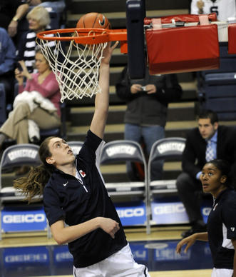 UConn forward Breanna Stewart warms up before Thursday night's game against Penn State at Gampel Pavilion.