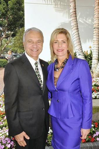 Chapman University President Jim Doti and Christmas at The Ritz chairwoman Kim Smith.