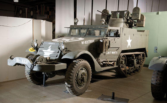 "The 1944 White M16 half-track ""meat-chopper"" was a U.S. military vehicle with a powered, armored turret with four .50-caliber machine guns."