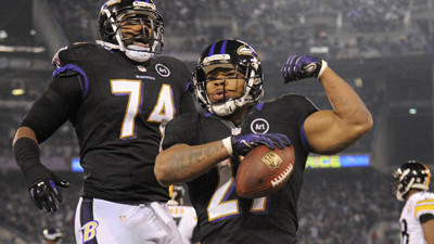 Comparing Ray Rice's workload to the number of Ravens' plays th…