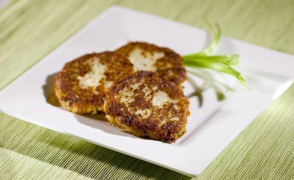 Potato latkes with feta cheese and onions.