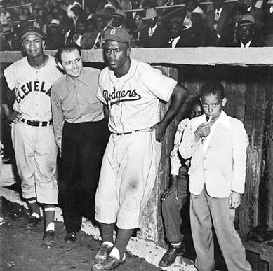 "Left to right: Larry Doby, Matty Brescia and Jackie Robinson in 1953, a Withers photo from the book  ""Negro League Baseball."""