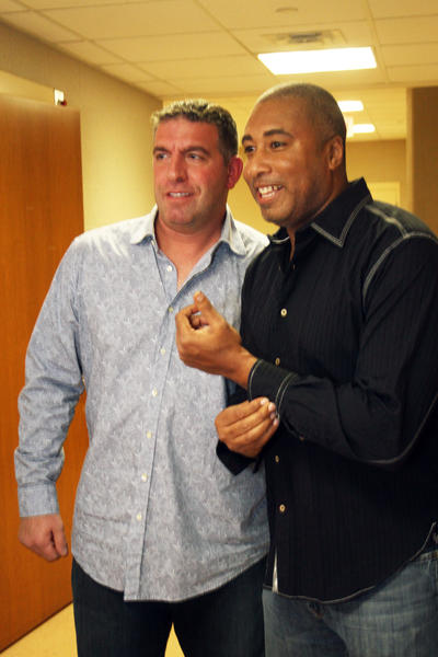 Frank Vigliotti and former New York Yankee turned jazz guitarist Bernie Williams before the show.