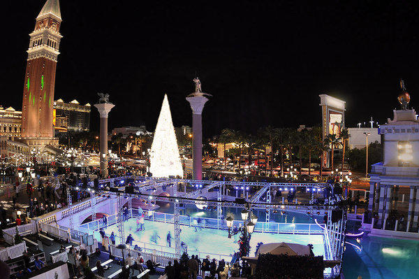 The skating rink at the Venetian is made of a polymer.