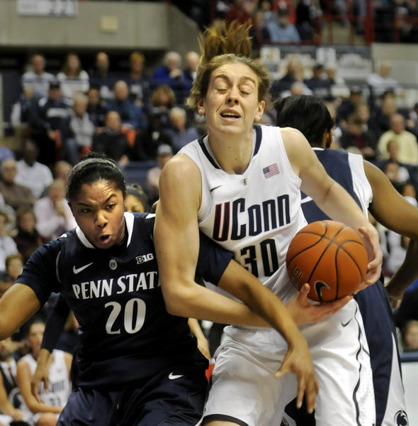 UConn's Breanna Stewart is fouled by Penn State's Alex Bentley in a tough defensive game against Penn State.