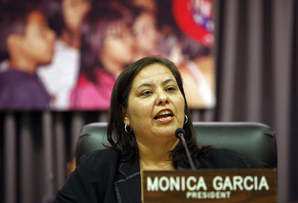 LAUSD President Monica Garcia in February.