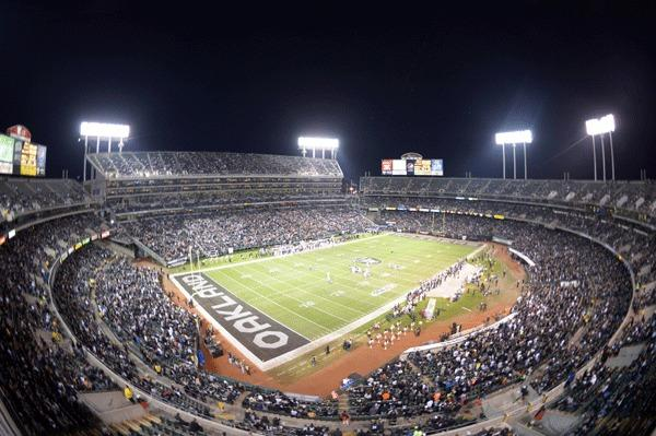 General view of the O.co Coliseum during the NFL game between the Denver Broncos and the Oakland Raiders.
