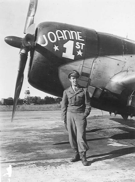 This photo of Thomas Pinson, of Petoskey, was taken by a friend during World War II. Pinson flew the bomber pictured here, and several other aircraft, for the United States Air Force in battles in Germany, Belgium and France.