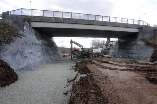 Construction under the Ceder Street bridge in Newington just south of where the Ceder Street Station will be built. Footings for a new bridge for the busway are being constructed.