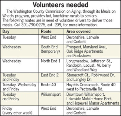 Drivers are needed for six different Meals on Wheels routes in Washington County. NOTE: An earlier version of this graphic contained an incorrect phone number.