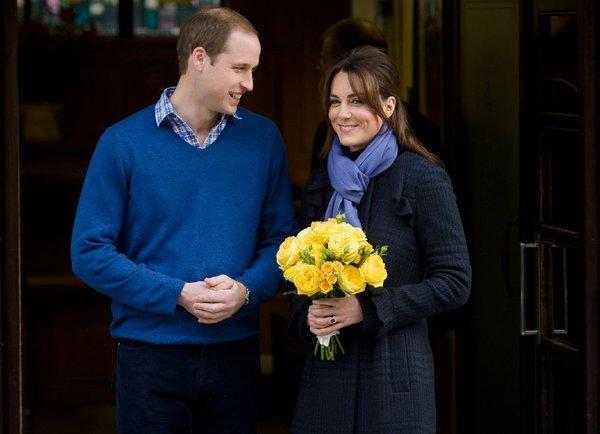 The Duke and Duchess of Cambridge exit King Edward VII hospital in London on Thursday, following Duchess Kate's treatment for hyperemesis gravidarum, a form of severe morning sickness.