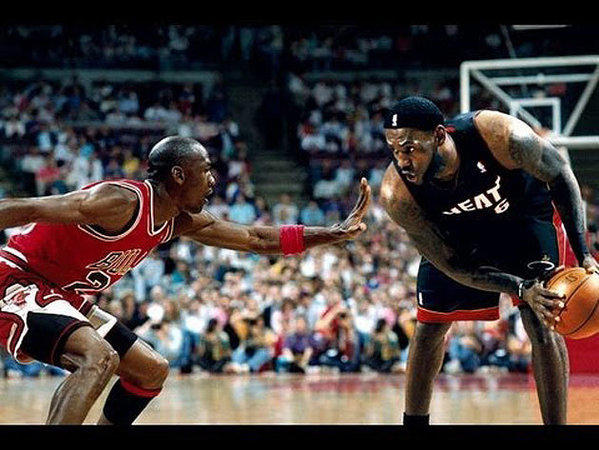 LeBron James reportedly has this digitally created photo of himself facing off against Michael Jordan as his wallpaper on his cellphone.