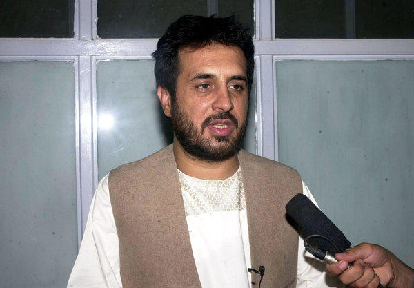 In a May 2007 file photo, Afghanistan's former Kandahar Gov. Asadullah Khalid and the country's current intelligence chief speaks to media at a hospital after surviving a suicide attack in the city of Kandahar, Afghanistan. Khalid was wounded in a bombing Thursday in the capital, Kabul, Afghan officials said.