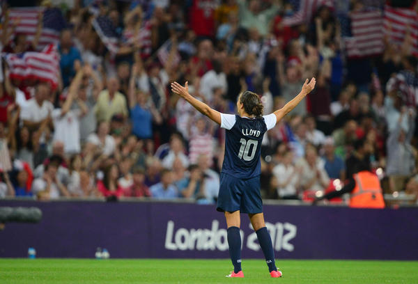 USA midfielder Carli Lloyd (10) celebrates after defeating Japan 2-1 during the women's soccer gold medal match in the 2012 London Olympic Games at Wembley Stadium.