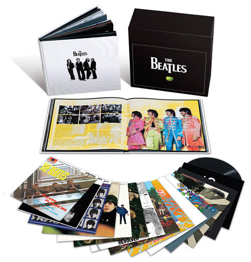 "The Beatles' core 14 albums are repackaged again, this time with vinyl connoisseurs in mind. Each remastered LP is available individually, but the box contains a beautiful coffee-table book loaded with striking images and insightful text on the making of each album by Beatles historian Kevin Howlett. The original artwork is restored (the ""white album"" poster, the ""Sgt. Pepper"" cutouts), and the music brims with warmth, clarity and punch. The quartet's self-titled debut pops out of the speakers -- driving guitars, Ringo's walloping drums and syncopated hand-claps on the incandescent ""I Saw Her Standing There."" And the latter-day studio-as-instrument masterpieces still dazzle; even at a modest volume level, ""Tomorrow Never Knows"" sounds strange and terrifying."