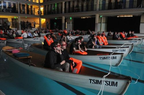 "Audience members at ""Life of Pi's"" Paris premiere donned 3-D glasses and sat in lifeboats to watch the film."