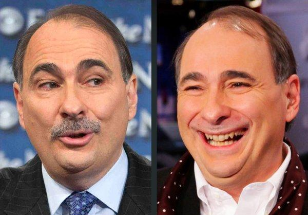 At left, mustachioed Obama campaign advisor David Axelrod as he appeared on Oct. 17. At right, how he looked after having his mustache shaved off to raise $1 million to battle epilepsy.