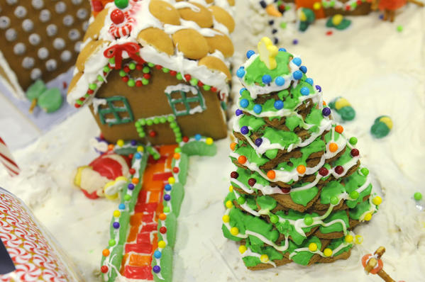 A group from the Aetna called the Elves made a detailed gingerbread house.