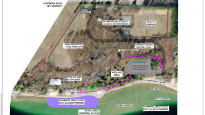 This image created from an aerial photo of the former Camp Sea-Gull property, shows a conceptual plan of how Hayes Township might used the property as a public park.