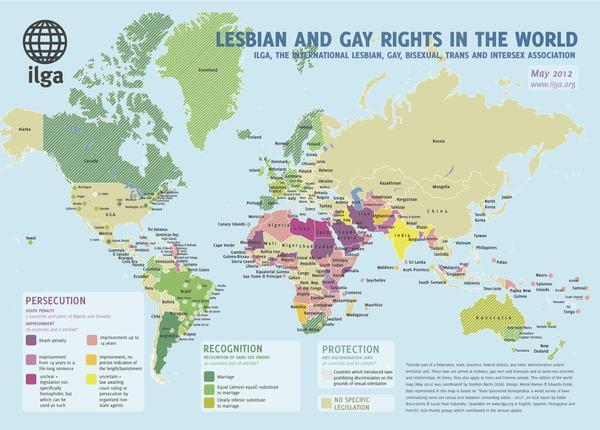 The state of gay and lesbian rights in the world.