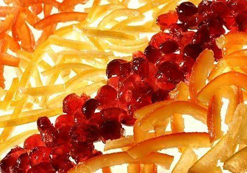 Candied peels and glace fruit.