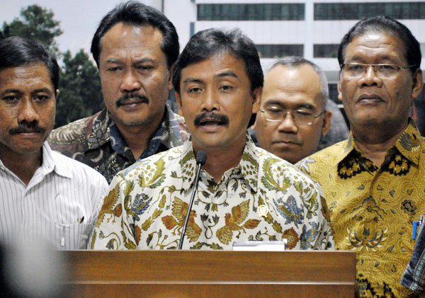 Youth and Sports Minister Andi Alfian Mallarangeng announces his resignation during a news conference in Jakarta, Indonesia. Mallarangeng formerly served as the president's spokesman.