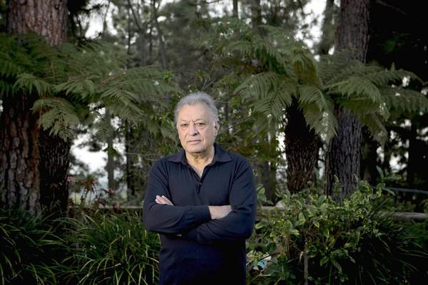Zubin Mehta, former conductor of the Los Angeles Philharmonic, at his Los Angeles-area home.