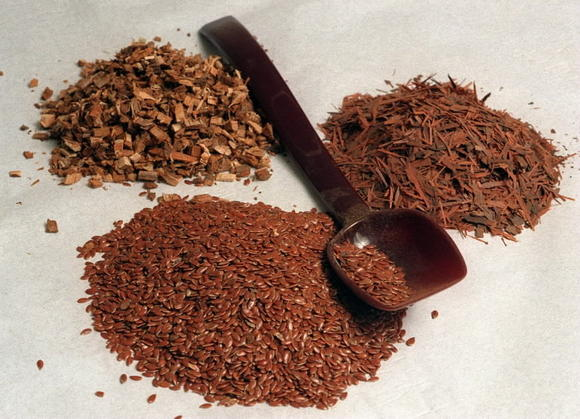Flax seeds are shown (front)