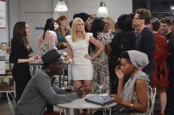 "The grand opening of Max and Caroline's (Kat Dennings, left, and Beth Behrs, center) cupcake shop is marred by the appearance of Max's ex-boyfriend (Noah Mills, right) on a new episode of ""2 Broke Girls"" at 9 p.m. on CBS."