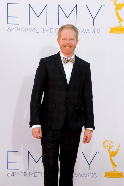 "At the Emmys, ""Modern Family's"" Jesse Tyler Ferguson rocked a dark plaid tuxedo (a custom version of a Thom Browne design for Brooks Brothers' Black Fleece collection)."