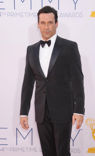 Actor Jon Hamm in a classic black tux at the Primetime Emmy Awards in September.