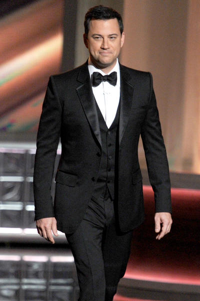 Emmy host Jimmy Kimmel in rope shouldered Gucci tux with vest.
