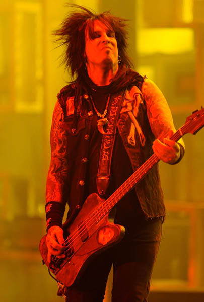 "Nikki Sixx (with 2 Xes, cause it's hardcore, or something) of <a class=""taxInlineTagLink"" id=""PECLB0040404449"" title=""Motley Crue (music group)"" href=""/topic/entertainment/music/motley-crue-%28music-group%29-PECLB0040404449.topic"">Motley Crue</a> is 52 today. (Photo by Kevin Mazur/WireImage)"