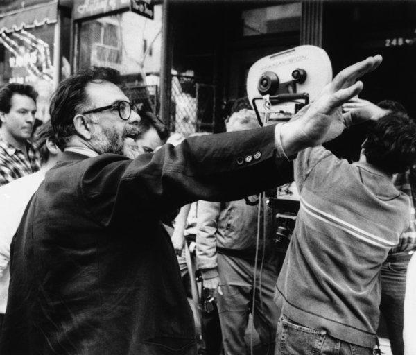 "Director Francis Ford Coppola advises his film crew as they set up to shoot a scene during the filming of the movie ""Godfather III."""