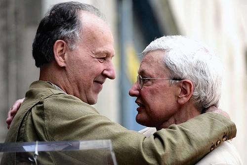 Director Werner Herzog, left, and Movie Critic Roger Ebert hug as Ebert receives the 2,288th star on the Hollywood Walk of Fame.