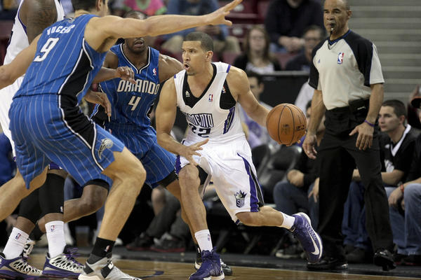 Sacramento Kings point guard Isaiah Thomas (22) drives in against the Orlando Magic during the first quarter at Sleep Train Arena