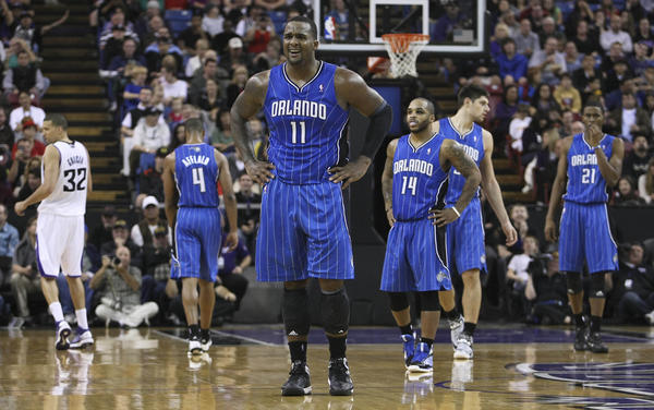 Orlando Magic power forward Glen Davis (11) reacts after being called for an offensive foul against the Sacramento Kings during the second quarter at Sleep Train Arena.