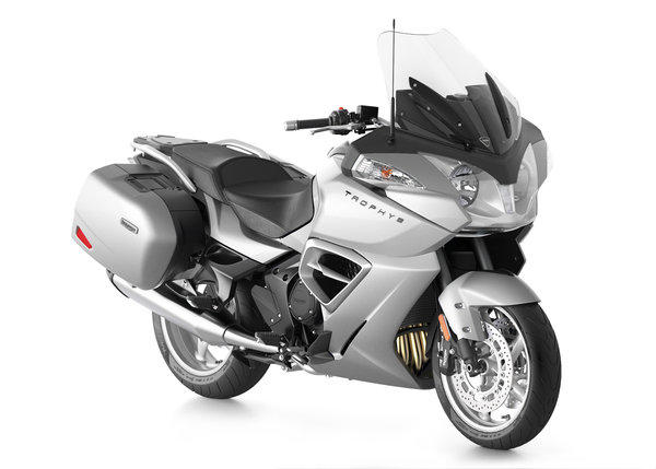 Triumph enters the touring market with its Trophy SE, seen here in Lunar Silver.