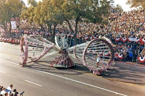 A 1979 float, originally titled 'Sports Spectacular' was later called 'Superstar.' Miss Glendale, Misty Schmidt, stood at the apex of the float, while princesses Diane MacDonald, Amara DeOca, Linda Bersach and Charlene Richardson stood near the rim of the four megaphones.