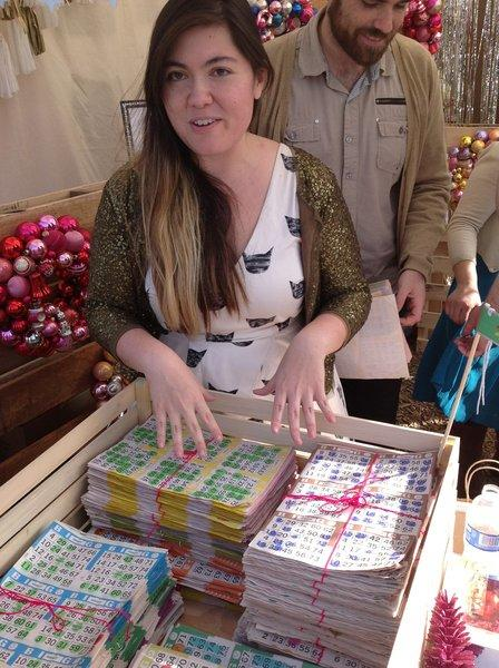 Christina Winkelmann with her recycled bingo-card gift wrap, one of the hits at the Renegade Craft Fair in Los Angeles, which runs through Sunday.