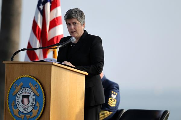 Department of Homeland Security Secretary Janet Napolitano speaks at the service.