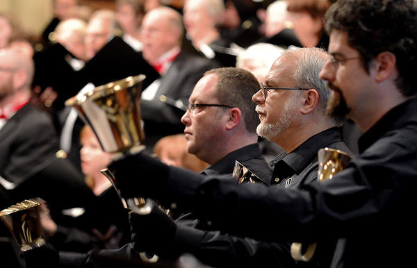 "Hagerstown Choral Arts, with special guests Capital Carillon Handbell Choir and Hub City Brass, perform the ""Sing Noel"" holiday concert at Trinity Lutheran Church in Hagerstown on Saturday."
